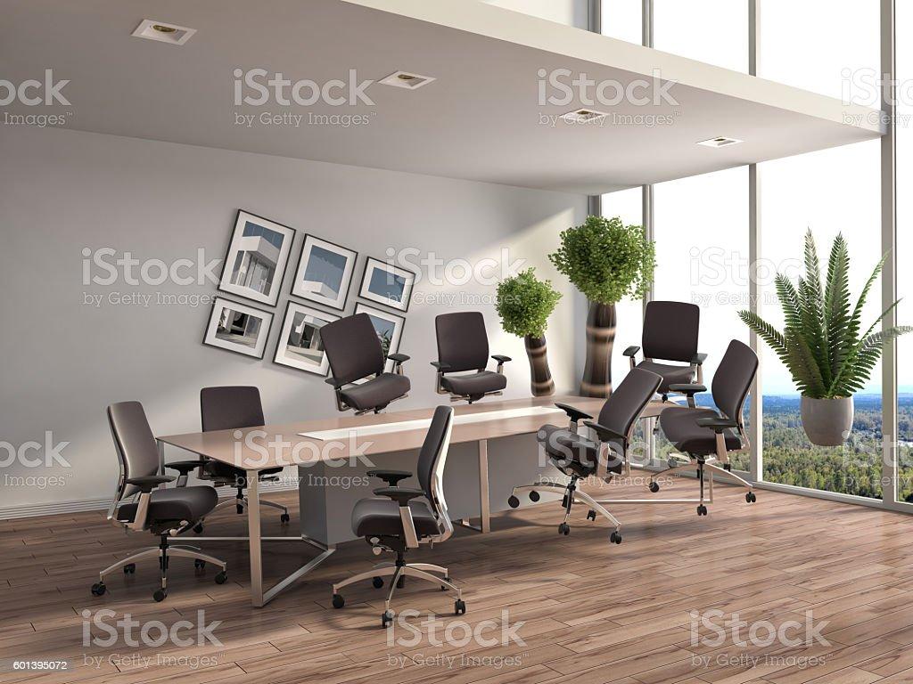 Zero Gravity in office interior. 3D Illustration stock photo