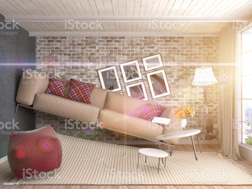 Zero Gravity Sofa hovering in living room. 3D Illustration stock photo
