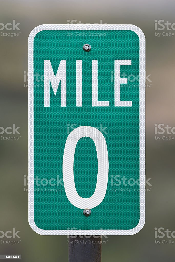 Zero Mile Marker stock photo