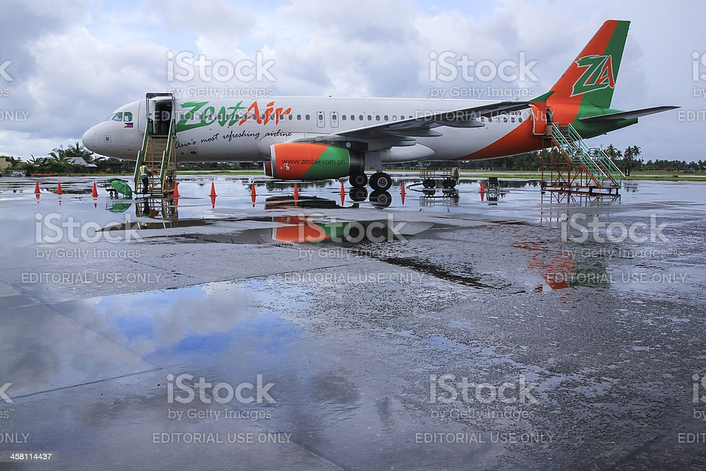 zest air airliner kalibo airport philippines royalty-free stock photo