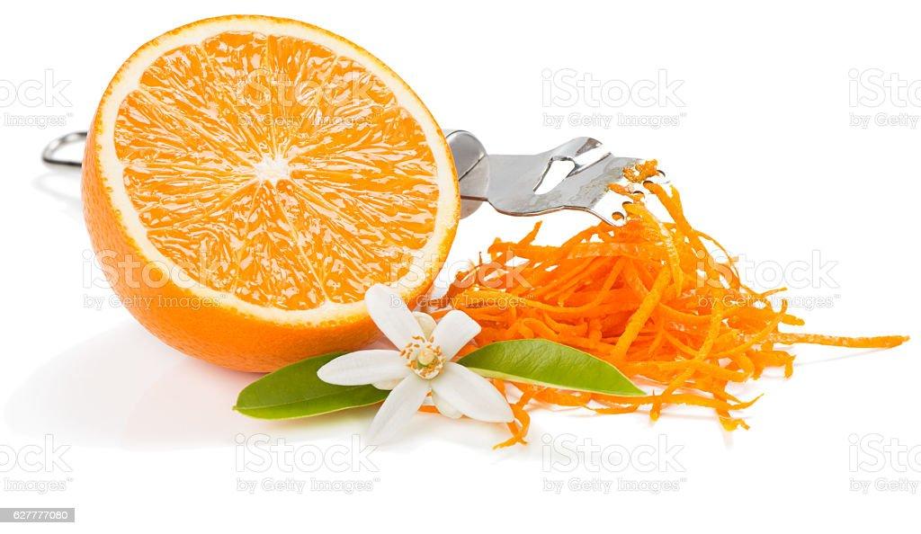 Zest and flower of orange fruit. stock photo