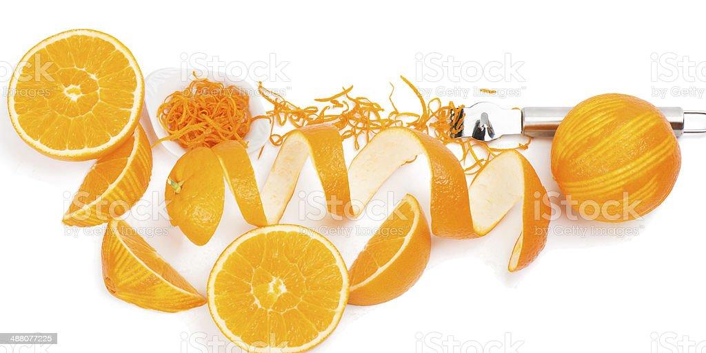 zesting a orange stock photo