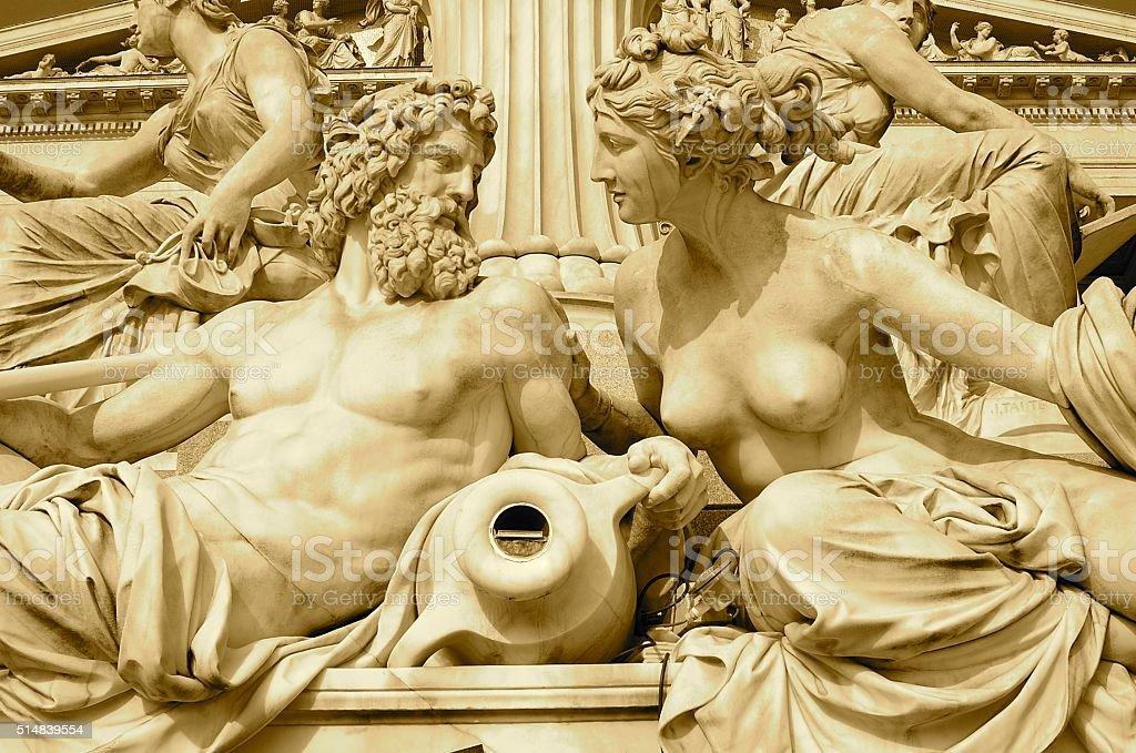 Zeus and Hera at Austria Parliament Building, Vienna stock photo