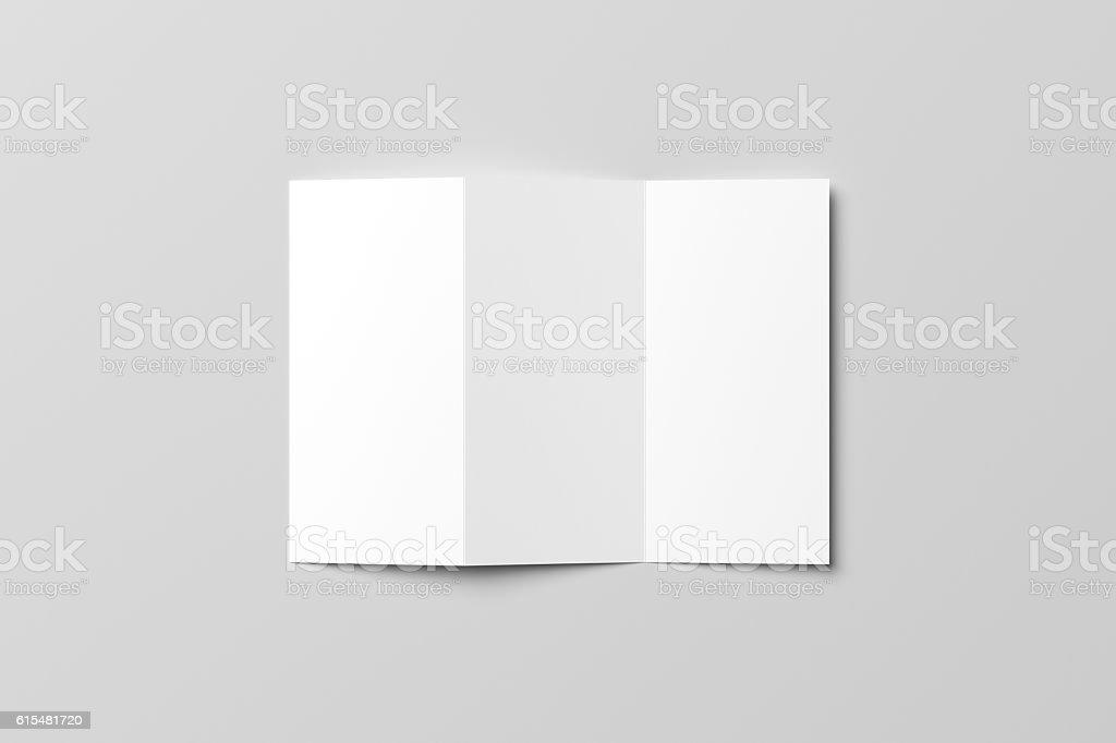 Z-Fold blank Mock-up. 3D illustration stock photo