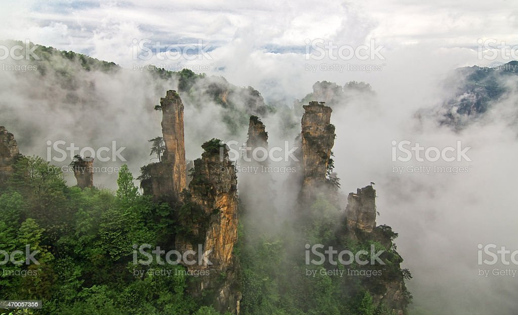 Zhangjiajie Misty Mountain Peaks stock photo