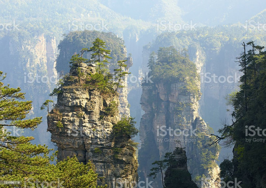 Zhangjiajie National Park, China. Avatar mountains stock photo