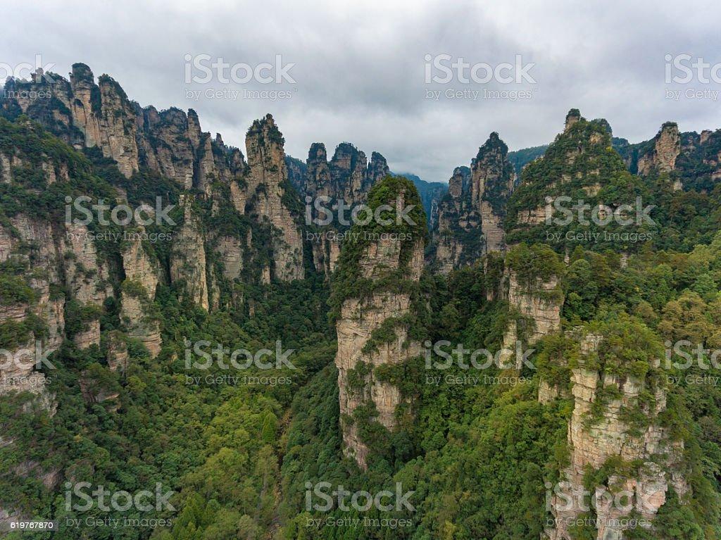 Zhangjiajie wulingyuan national park with limestone pillars stock photo