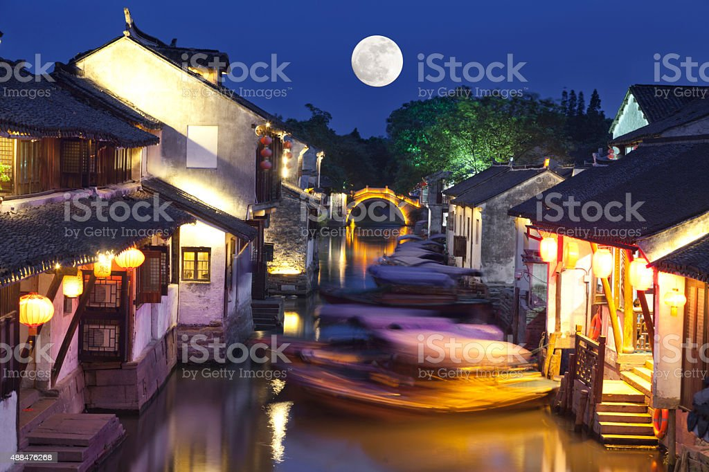 Zhejiang province  ancient town at night,mid-autumn, stock photo