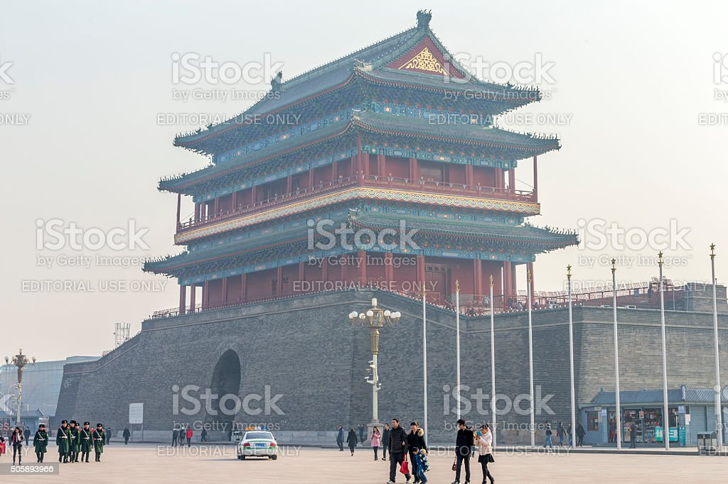 Zhengyangmen Gate under Smog Day, Beijing stock photo
