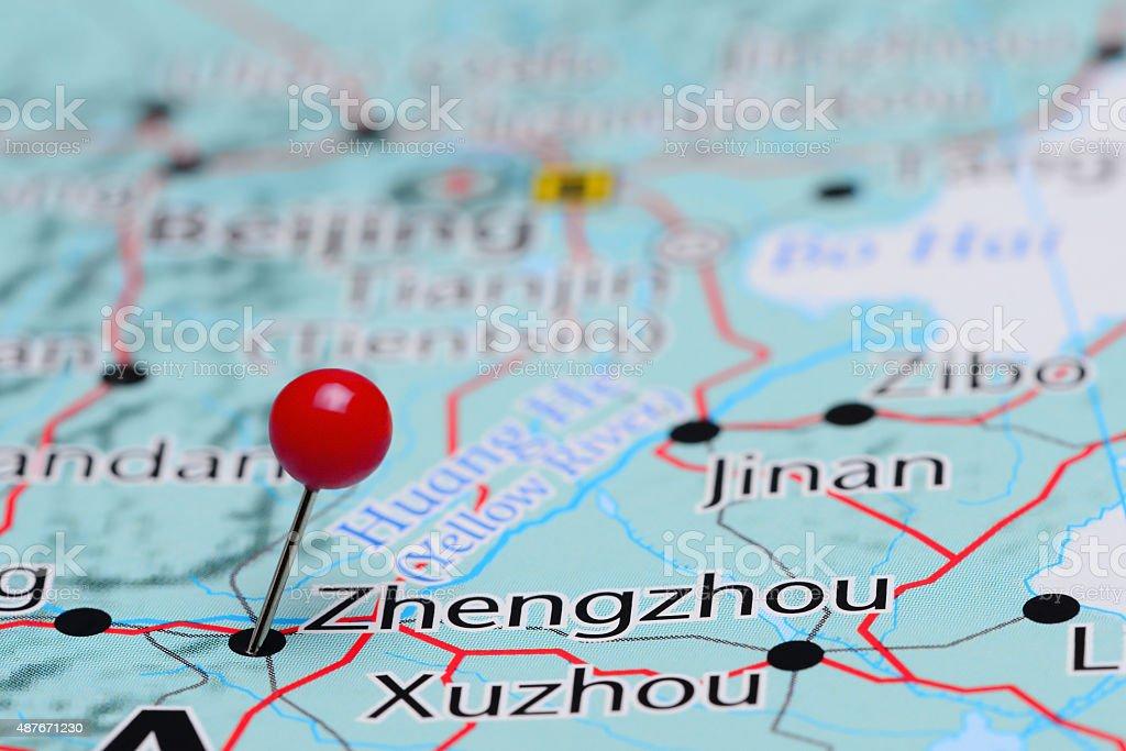 Zhengzhou pinned on a map of Asia stock photo