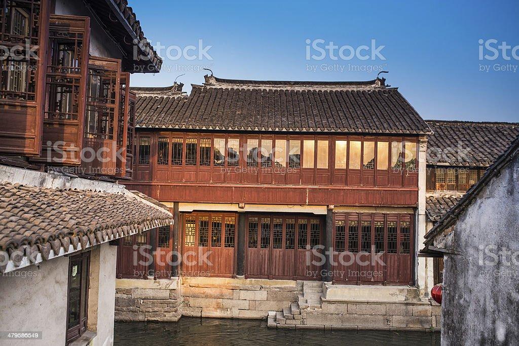 Zhouzhuang, Shanghai water village in China stock photo