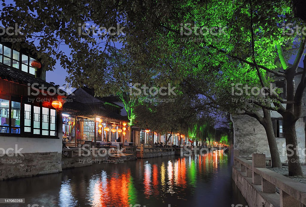 Zhouzhuang water city in China at evening stock photo