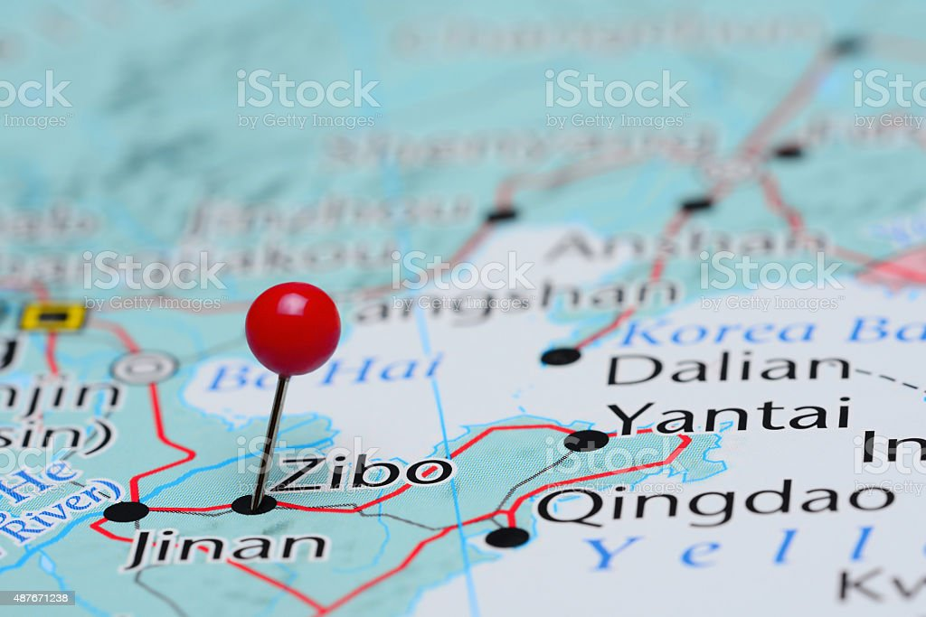 Zibo pinned on a map of Asia stock photo