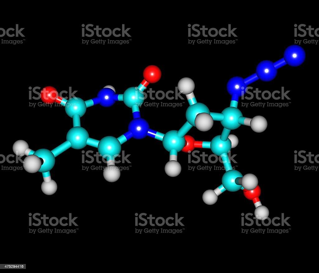 Zidovudine molecule isolated on black stock photo