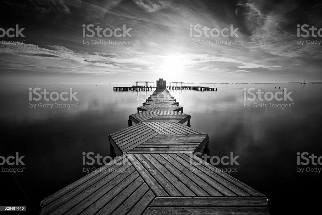 Zig Zag dock in black and white stock photo
