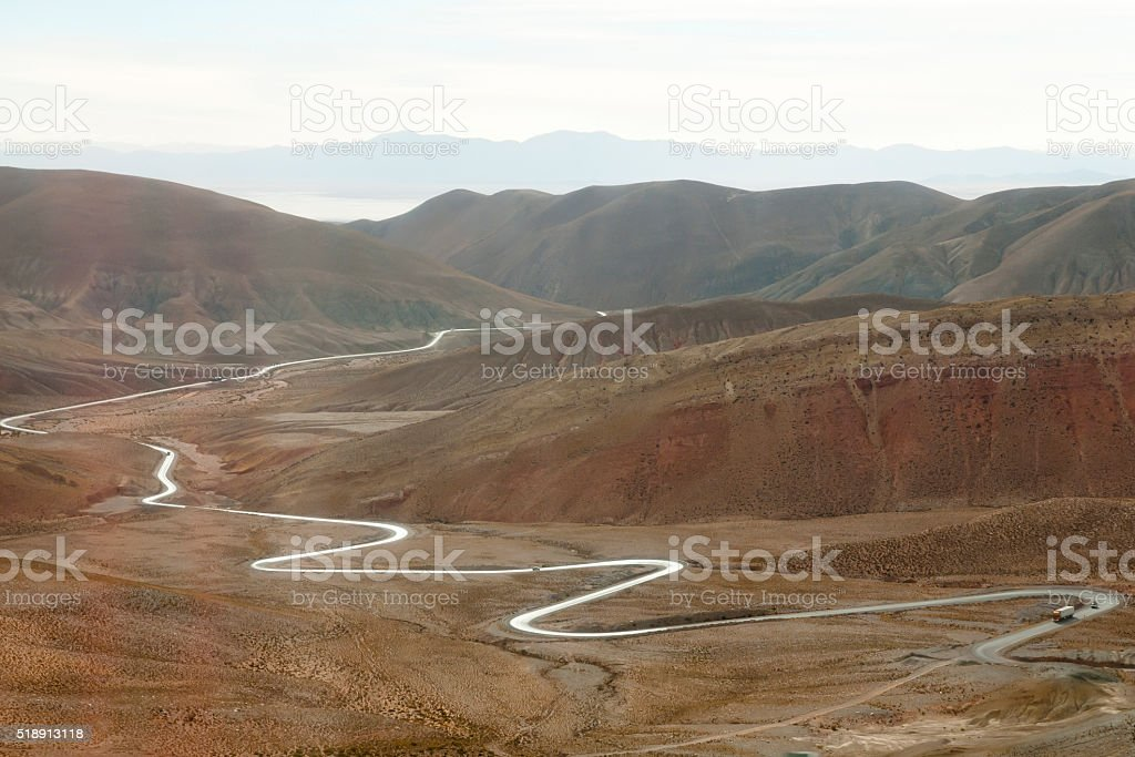 Zig Zag Highway 52 to Chile - Jujuy - Argentina stock photo
