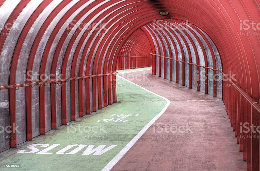 ZigZag In Covered Pedestrian Walkway/Cycleway royalty-free stock photo