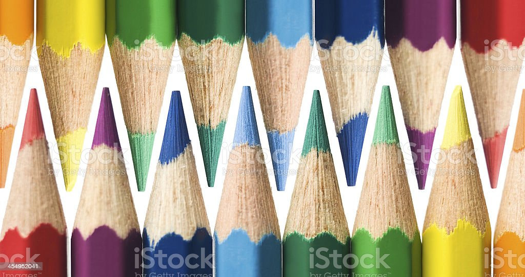 Zigzag pattern with colourd pencils royalty-free stock photo