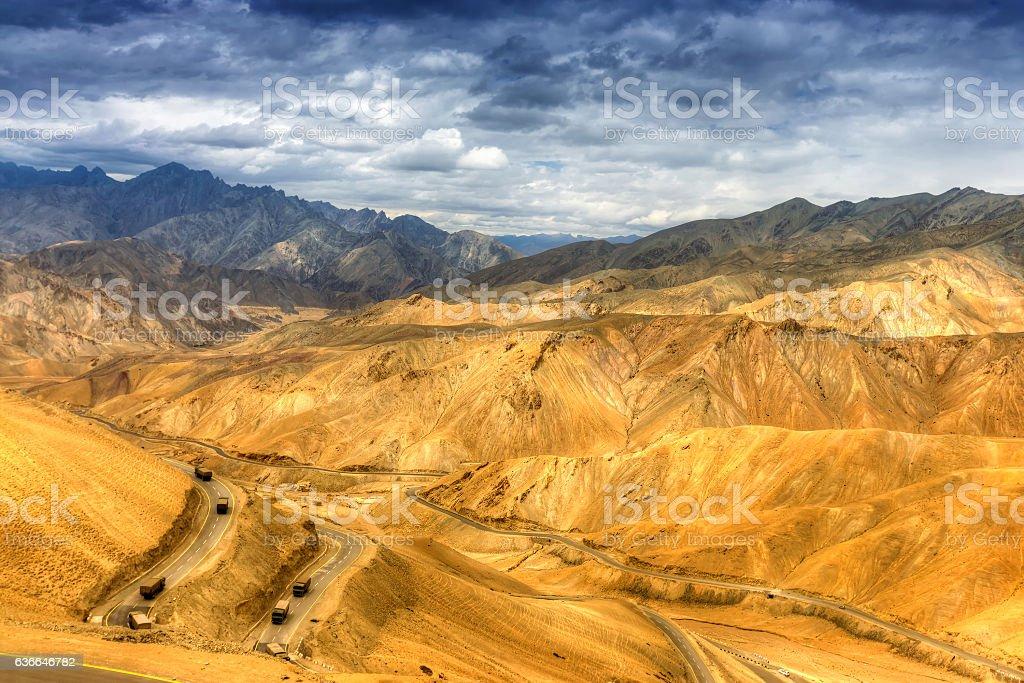 Zigzag road, Leh Srinagar Highway, Ladakh, Jammu and Kashmir, India stock photo