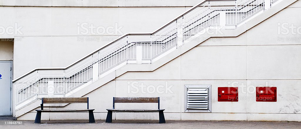 Zigzag - staircase, exterior, with fire safeyty equipment royalty-free stock photo