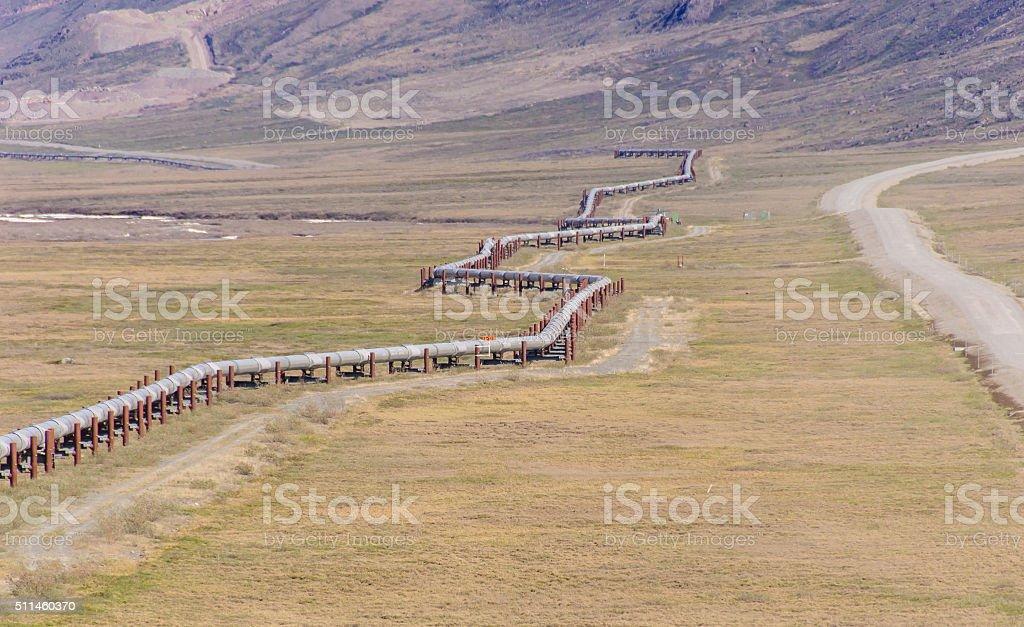 Zig-Zagging Trans Alaska Pipeline in Brooks Range stock photo