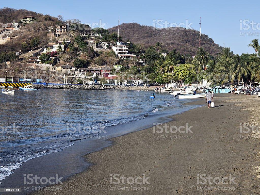 Zihuatanejo Beach in morning stock photo