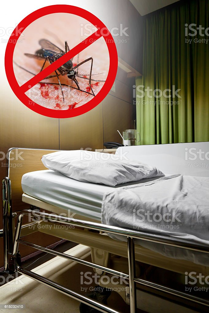 Zika virus. Clean  sickbed in hospital with stop mosquito sign. stock photo