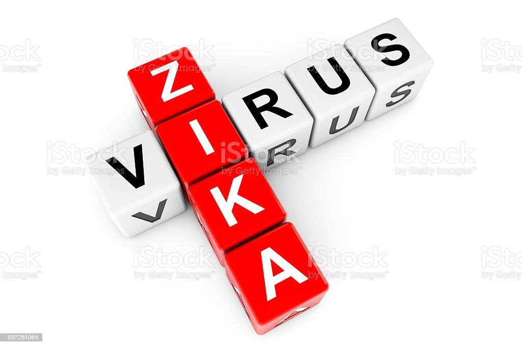 Zika Virus Sign as crossword blocks. 3d Rendering stock photo