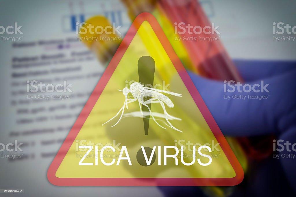 Zika virus warning square sign stock photo