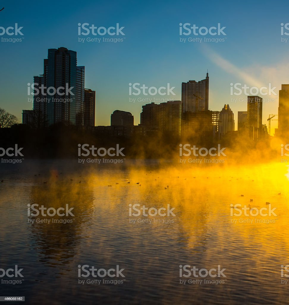 Zilker Lou Neff Point Shows Austins Lake with Steam stock photo