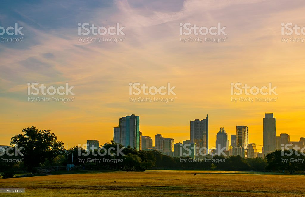 Zilker Park Sunrise Austin Texas USA Skyline 2015 stock photo