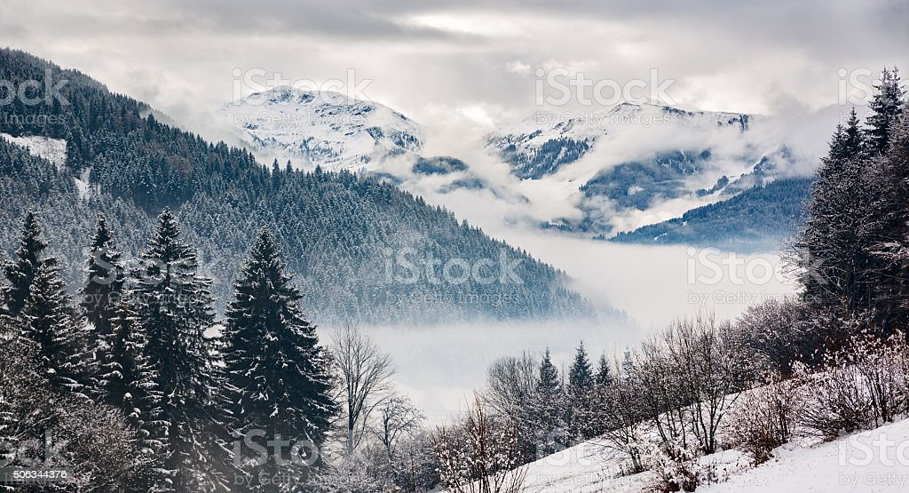 Zillertal at a winter day, Tyrol, Austrian Alps stock photo