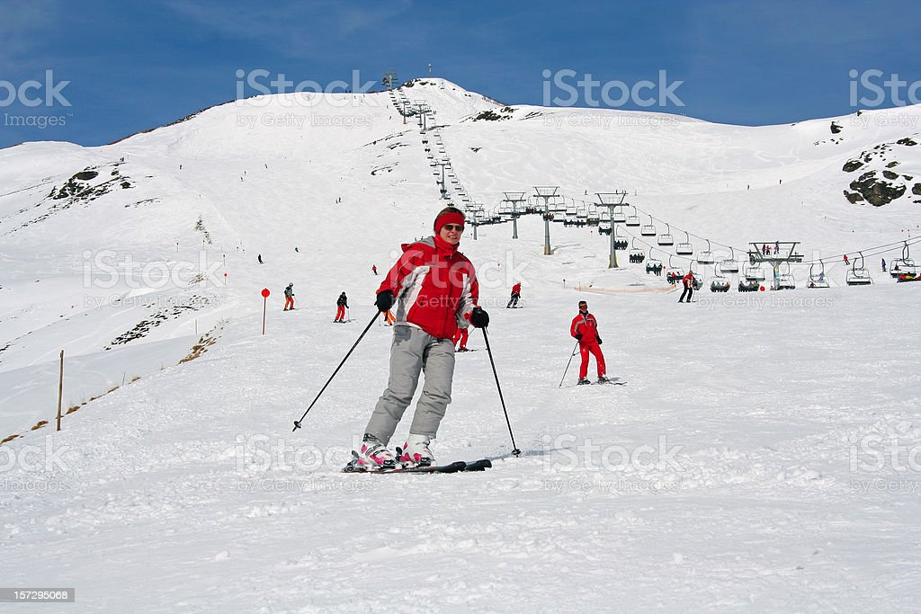 Zillertal, Austria - Woman on ski in the alps royalty-free stock photo