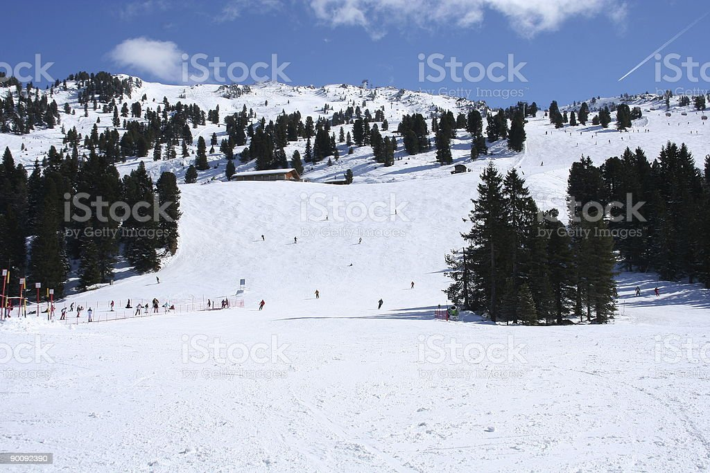 Zillertal - Skiing in the Alps stock photo