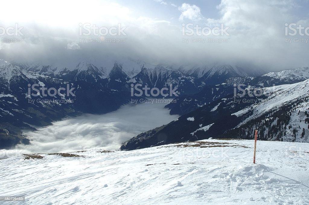 Zillertal valley in Alps in winter stock photo