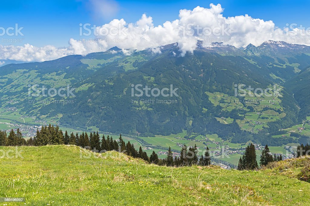 Zillertal valley village surrounded by mountains during summer stock photo