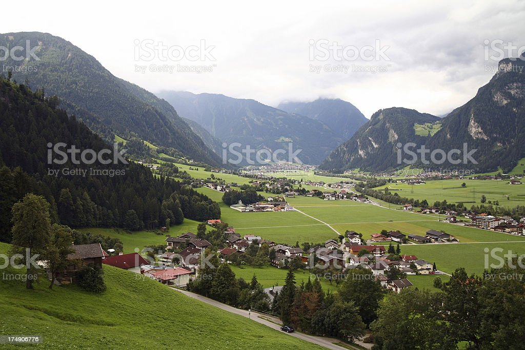 Zillertal vista, view on Ramsau and Mayrhofen in Tirol stock photo