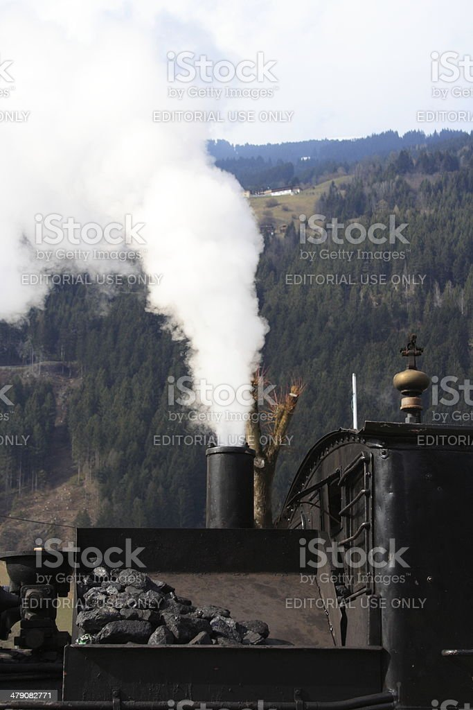 Zillertalbahn historical steam train at Zell am Ziller Station stock photo