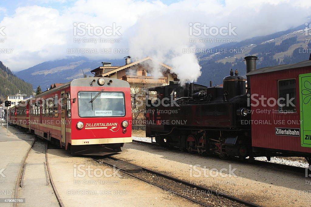 Zillertalbahn train at Zell am Ziller Station stock photo