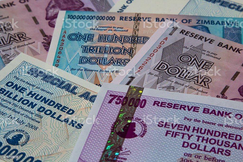 Zimbabwe Dollars Paper Currency stock photo