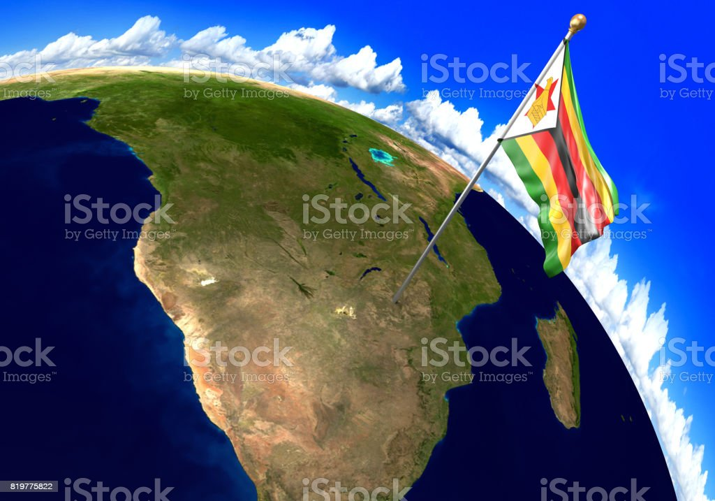 Zimbabwe national flag marking the country location on world map 3d zimbabwe national flag marking the country location on world map 3d rendering parts of gumiabroncs Image collections