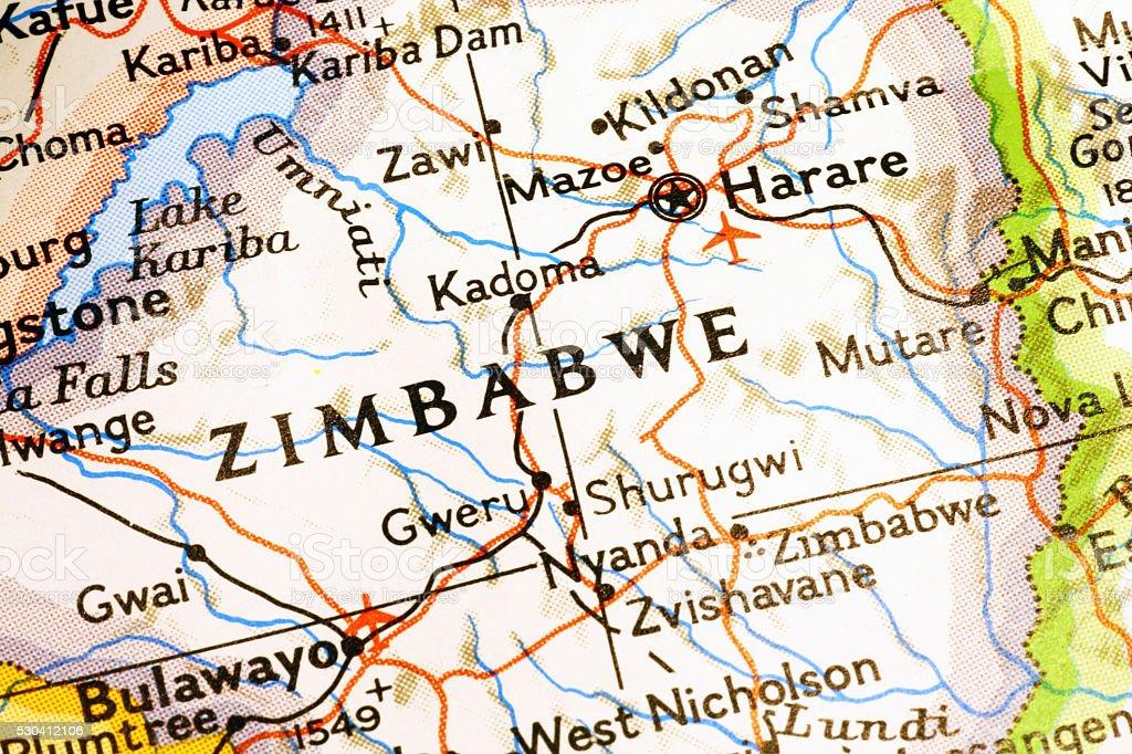 Zimbabwe on a map stock photo
