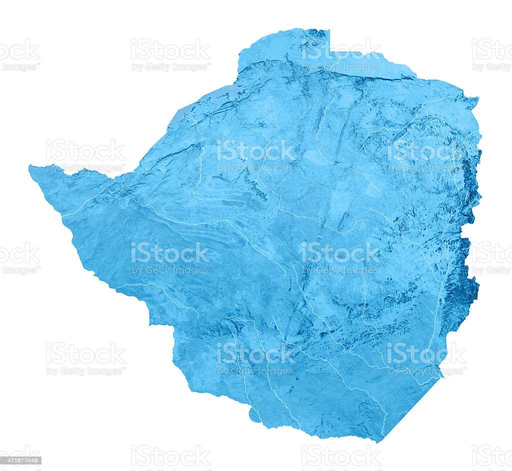 Zimbabwe Topographic Map Isolated royalty-free stock photo