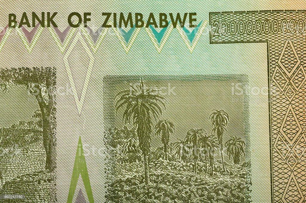 Zimbabwe twenty billion dollars banknote stock photo