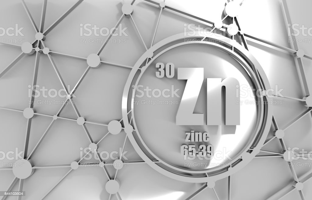 Zinc chemical element. stock photo