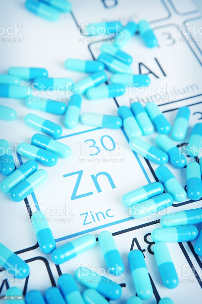 Zinc - Mineral Supplement on Periodic Table stock photo