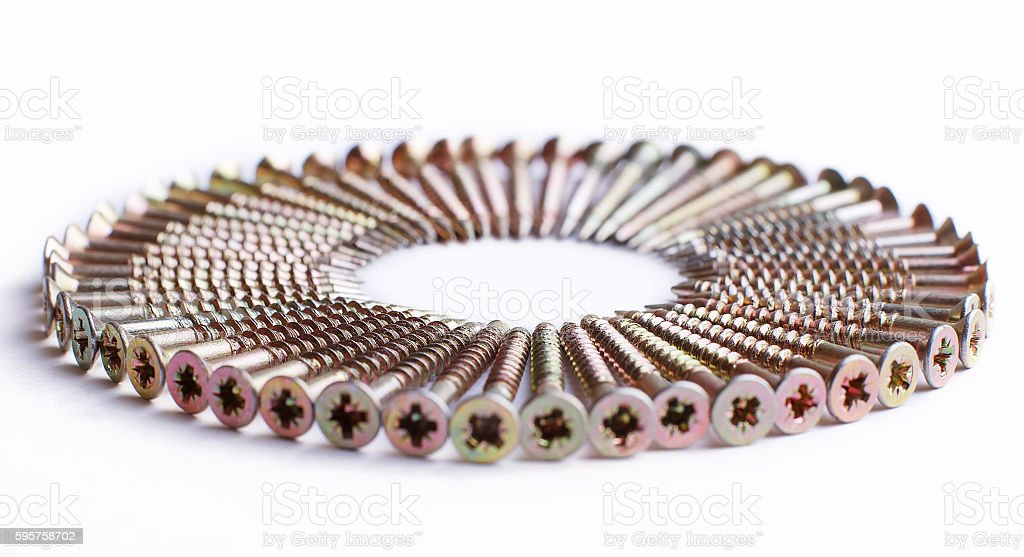 Zinc plated chipboard screws stock photo