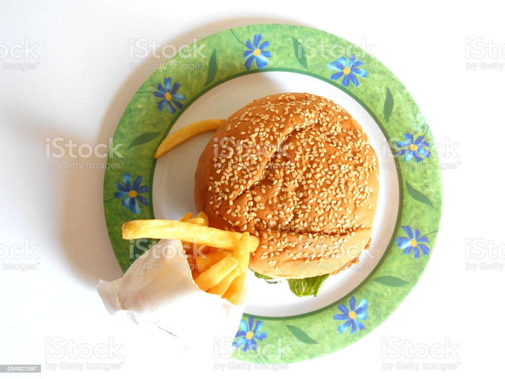 Zinger and fries on plate stock photo