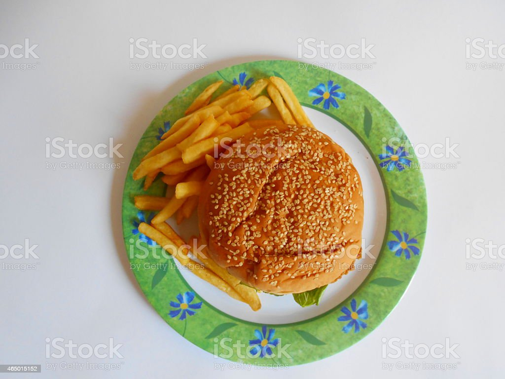 Zinger and fries stock photo