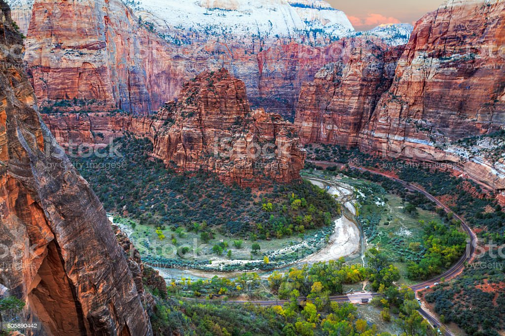 Zion Canion National Park - sunset view from above stock photo